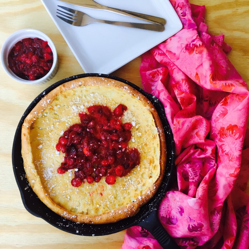 Tuesday Brunch Happiness { Dutch Oven Pancake w/ Cranberry Orange Compote}