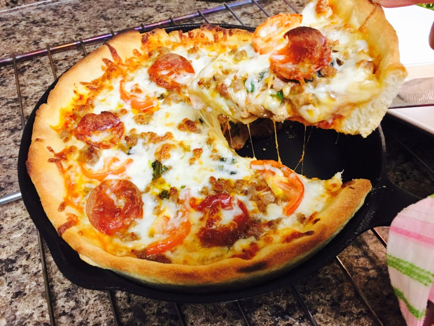In The Kitchen with The Mini Me:  Homemade Deep Dish Pizza
