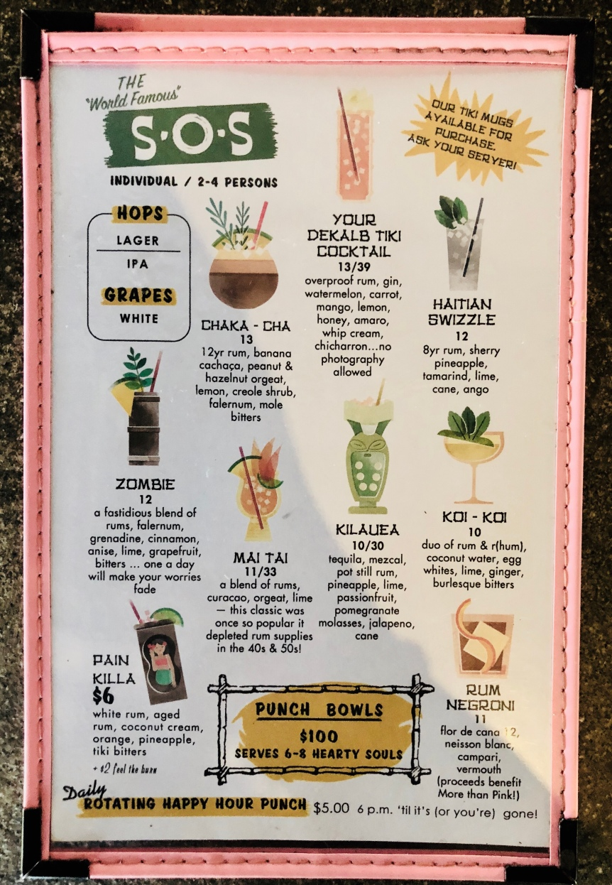 S.O.S Tiki Bar Cocktail Menu Decatur, GA