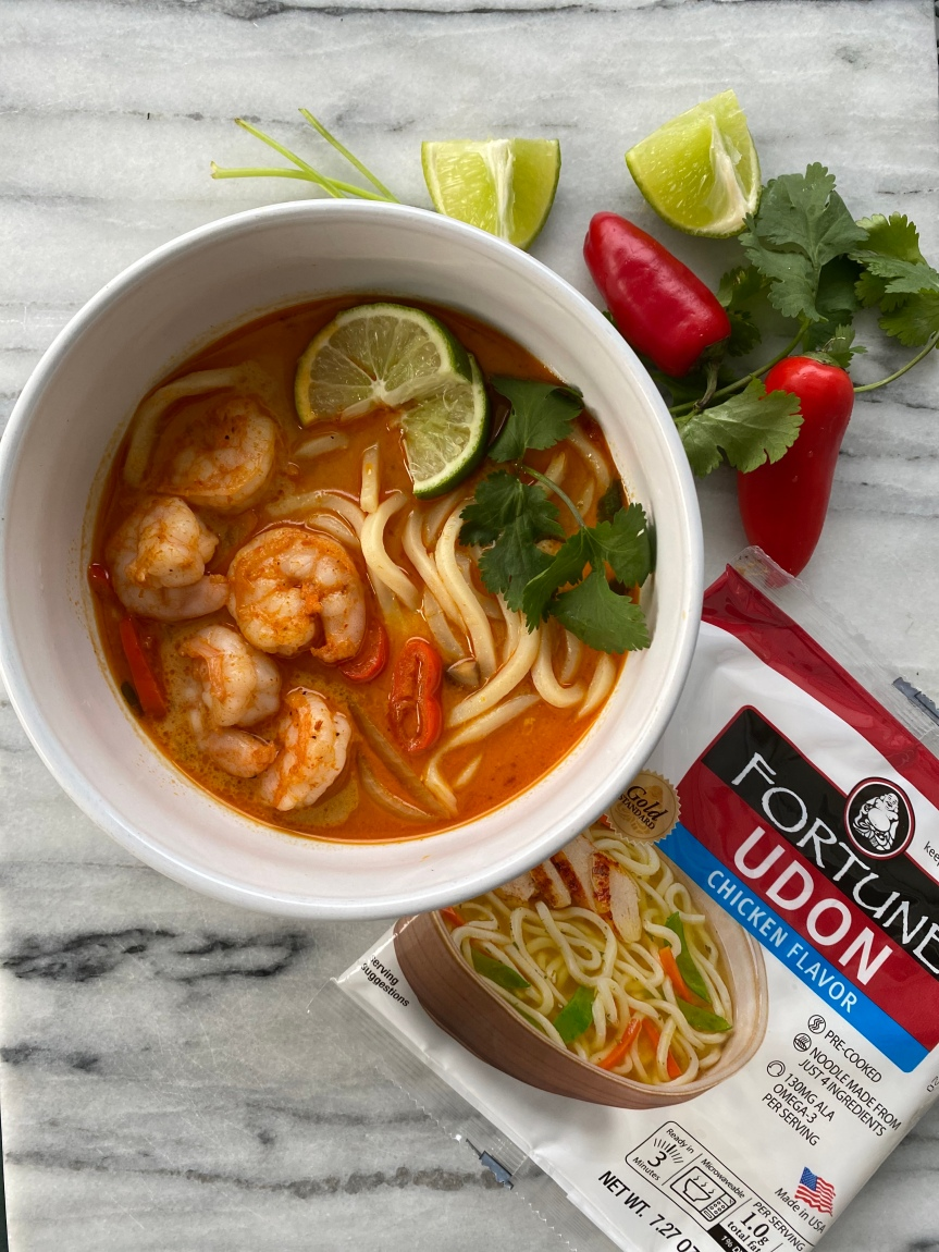 Coconut Curry Shrimp Soup with Fortune Udon Noodle Soup